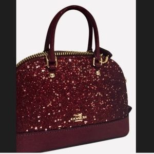 NWT COACH mini Sierra star glitter leather satchel